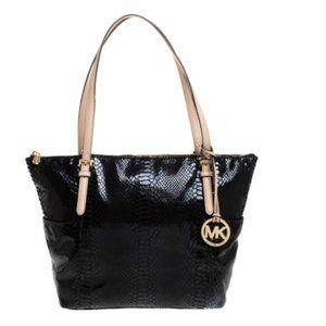 LKNW Michael Kors Black Patent Leather Snake Bag tote